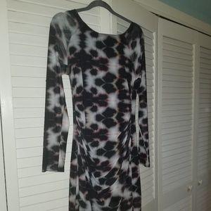 Trina turk body con sheer sleeve dress